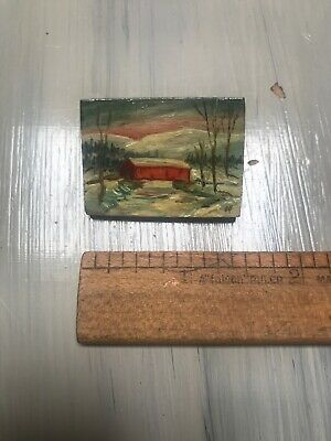 Antique Vintage Miniature Wooden Hand Painted Painting / Pin