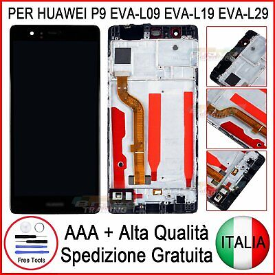 Display LCD Per HUAWEI P9 EVAL-09 FRAME schermo TOUCH SCREEN NERO + FRAME