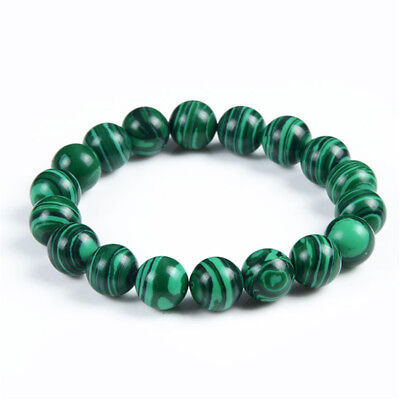 Bracelet perles 10mm naturel Malachite vert tibétain bouddhiste Bouddha prière