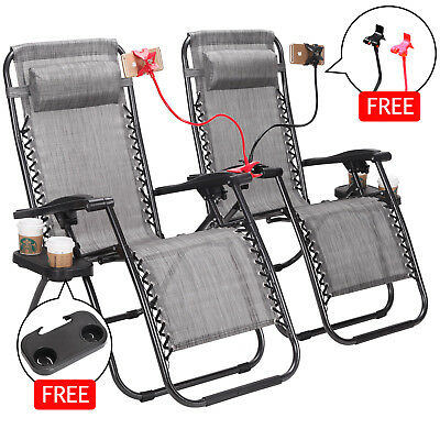 2pcs Zero Gravity Folding Lounge Beach Chairs Tray Outdoor Recliner Brown/Gray