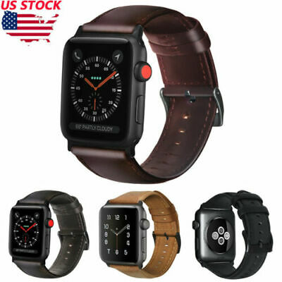 Retro Genuine Leather iWatch Band Men Casual Strap For Apple Watch Series 4 3 2