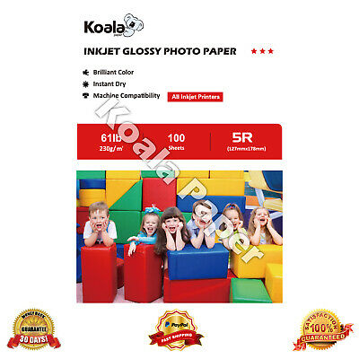 Koala 100 Sheets 5x7 Premium High Glossy Inkjet Print Photo Paper Canon HP 7x5
