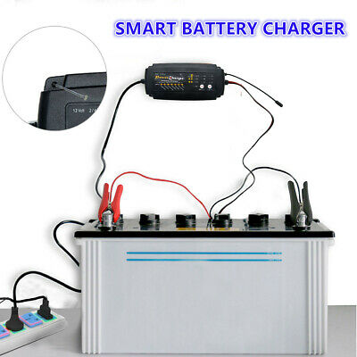 12 V 2/4/8 Amp Car Van Intelligent Smart Battery Charger Automobile UK PLUG