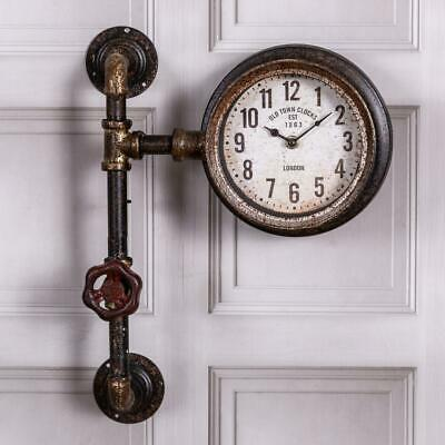 Rustic Brown Clock Pipe Industrial Wall Mounted Vintage Metal Retro Home Chic