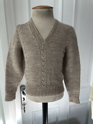 Vintage Fawn Hand Knitted Jumper Age 3/4