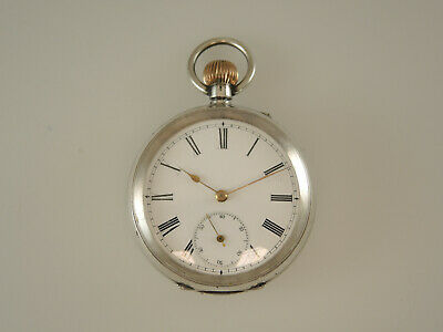Solid Silver Swiss Pocket Watch c1890.