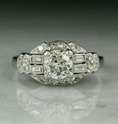 Antique Vintage Edwardian Engagement Ring 3Ct Round Diamond 14K White Gold Over