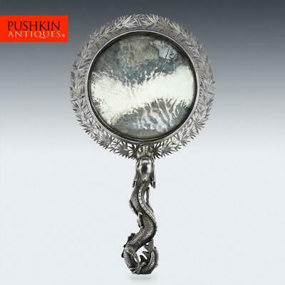 ANTIQUE 19thC CHINESE EXPORT SOLID SILVER HAND MIRROR, WANG HING c.1880