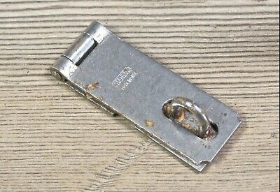 "Tool box hasp hinged steel 2 1/2 x 1"" Safety lock vintage old stock Stanley"