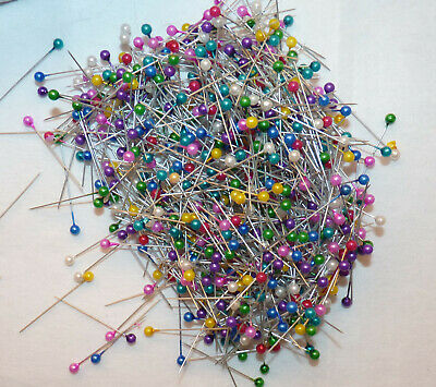 50 x 3.5CM LONG METALLIC COLOURED BEAD TOPPED PINS FOR SEWING/KNITTING /CRAFTS