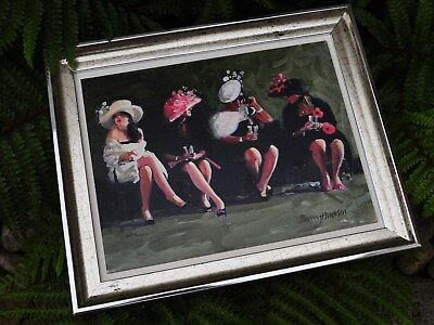 'LADIES DAY' at the races fashion style Barry Hudson signed framed original