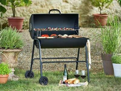 Oil Drum BBQ Barbecue with Cover Utensils and Warming Rack Grill Charcoal Smoker