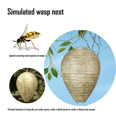 Wasp Deterrent Natural Safe Non-Toxic Hang Decoy Hornet Bee Fake Nest- Simulated