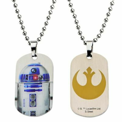 Star Wars and Rebel Logo R2-D2 Dog Tag Pendant - Stainless Steel Double Sided