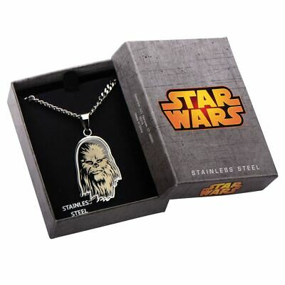 "Star Wars Etched Chewbacca Pendant with 22"" Chain - Boxed Stainless Steel"
