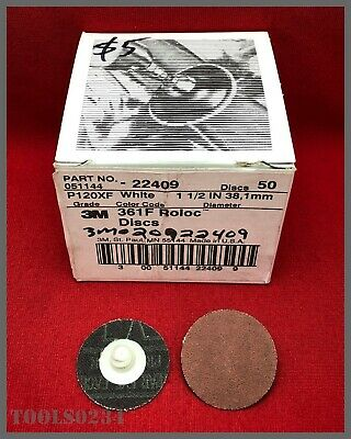 "3M #22409 Roloc Disc 361F TR Attachment - 1-1/2"" - 120 Grit - Box of 50!"