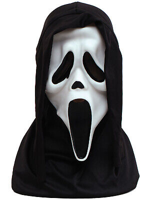 Official Scream Mask Halloween Horror Ghost Scary Mask Black Hood Costume