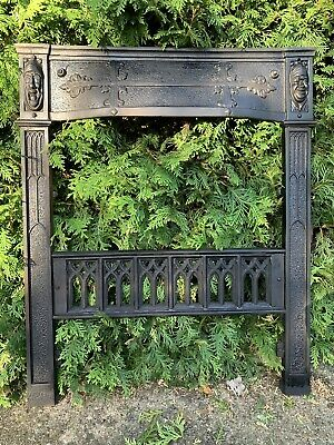 Large Victorian Mask Cast Iron Fireplace Grate Antique Architecture Garden #6