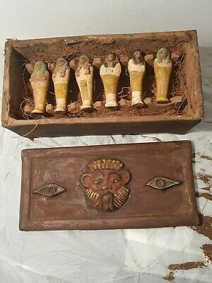 Rare Antique Ancient Egyptian Wooden 6 Ushabti Box Servant Gods Bes 1860-1740BC