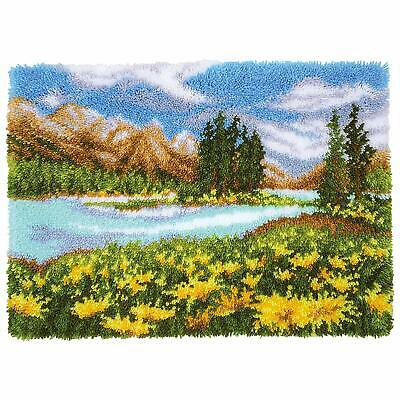 Mountain Landscape Latch Hook Kit  Rug Making Kit by Vervaco 70x51cm Inc Tool