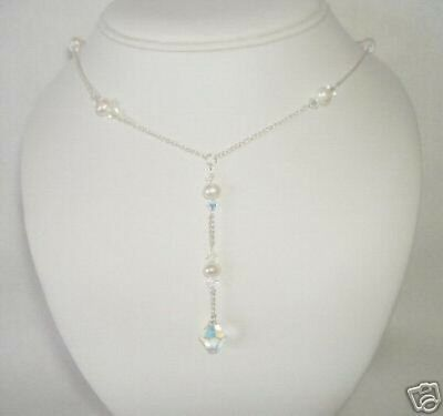 Drop Sterling Silver~ made with Swarovski Pearl CRYSTAL Bridal Wedding Necklace