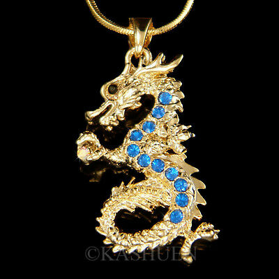 Royal Blue Dragon made with Swarovski Crystal Serpents Chinese New Year Necklace