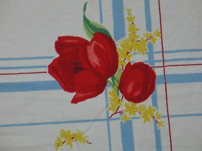 """Delightful Vintage Wilendur Tablecloth Red Tulips 42"""" x 45.5"""""""