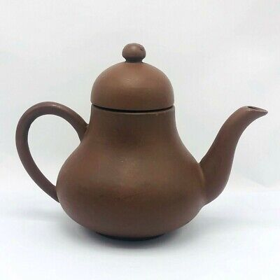 Antique China Yixing Teapot Zisha Purple Clay Marked Pure Gourd Plain Brown Old