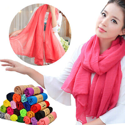 Fashion Women Girls Scarf Long Scarves Soft Cotton Wrap Shawl Stole Solid Color