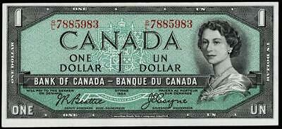 1954 $1 Dollar Banknote Bank Of Canada~~About Uncirculated