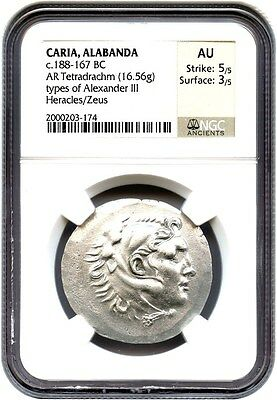 188-167 BC Alabanda AR Tetradrachm NGC AU (Ancient Greek)