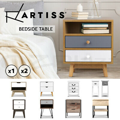 Artiss Bedside Tables Drawers Side Table Storage Cabinet Nightstand Bedroom Lamp
