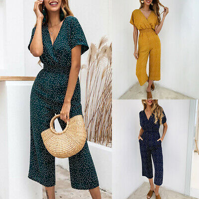 Womens Polka Dot V Neck Jumpsuit Ladies Wide Leg Long Casual Holiday Playsuit