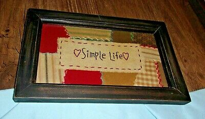 primitive country stitchery simple life wall home decor black frame sampler hand