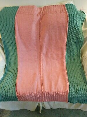 """BRAND NEW HAND knitted AFGHAN BLANKET 51""""x 40""""  COLORS ARE dusty rose & green"""