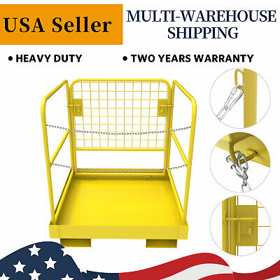 "Forklift Safety Cage Work Platform Lift Basket Heavy Duty Collapsible 36"" x 36"""