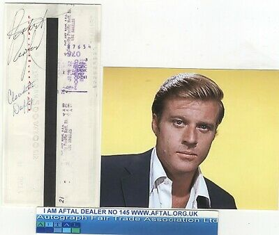 Robert Redford vintage signed Bank Cheque / Check AFTAL#145