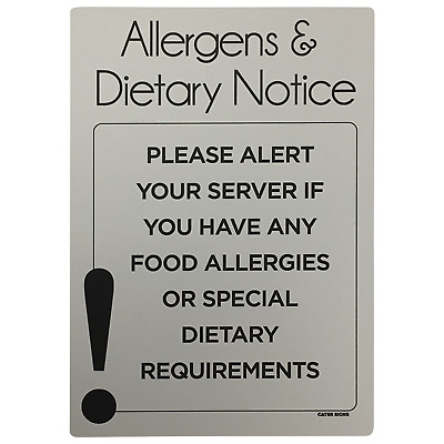 Food Allergy Sign. Alert your server of any Allergens & Dietary requirements sig