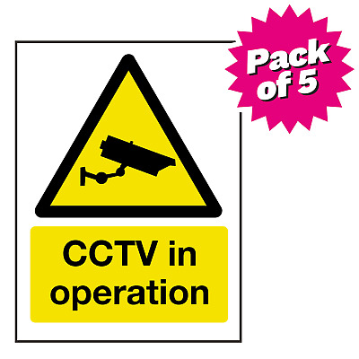 150x200mm CCTV in operation text and symbol self adhesive vinyl sign. Pack of 5