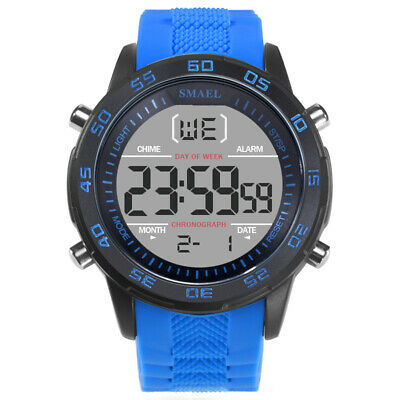 SMAEL Men's Digital Military Large Face LED Calendar Waterproof Sport Stopwatch