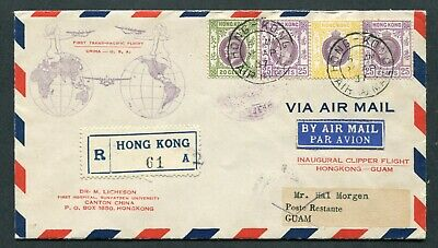 1937 Clipper.1st First Flight Airmail cover Hong Kong (KGV stamps) to Guam