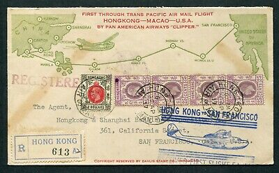 1937 Clipper.1st First Flight Airmail cover Hong Kong (KGV stamps) to U.S.A.