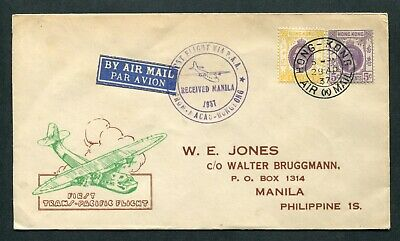 1937 1st First Flight Airmail cover Hong Kong (KGV) to Philippines Is.(2)