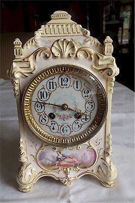 Beautiful Antique Porcelain Clock Japy Freres France Portrait Gold Gilt