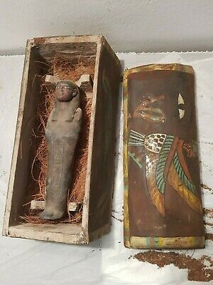 Rare Antique Ancient Egyptian Wooden Ushabti Box Gods Horus Wadjet Ey1830-1750BC