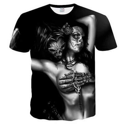 Women Men T Shirt 3D Print Short Sleeve Tee Top Skull Sexy Women Unisex Casual
