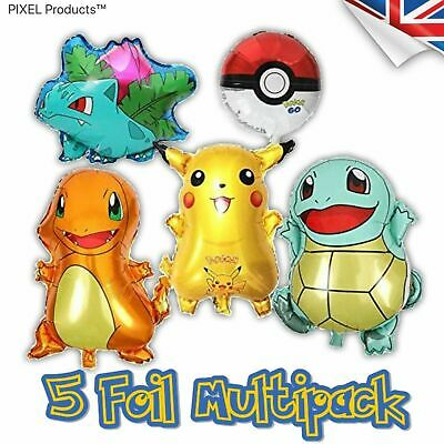 Pokemon Foil Party Balloons (5 Pack) fillers, favours, supplies, Loot