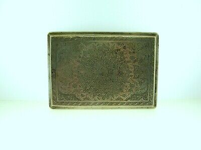 Antique Persian Solid Silver Cigarette Case With Fantastic Engravings 153 Grams