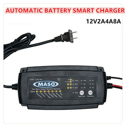 Car Battery Charger Automobile Motorcycle Intelligent 12 V 2/4/8 A Marine Boat