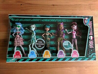Monster High GHOULS SKULL SHORES 5 PACK Clawdeen Draculaura Ghoulia Cleo Frank